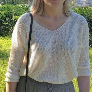 White Knit Spring Sweater
